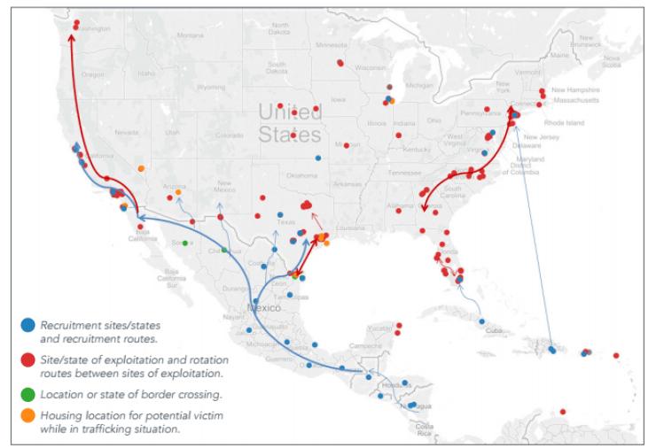 Human Trafficking NewsInformationStories - Human trafficking us map